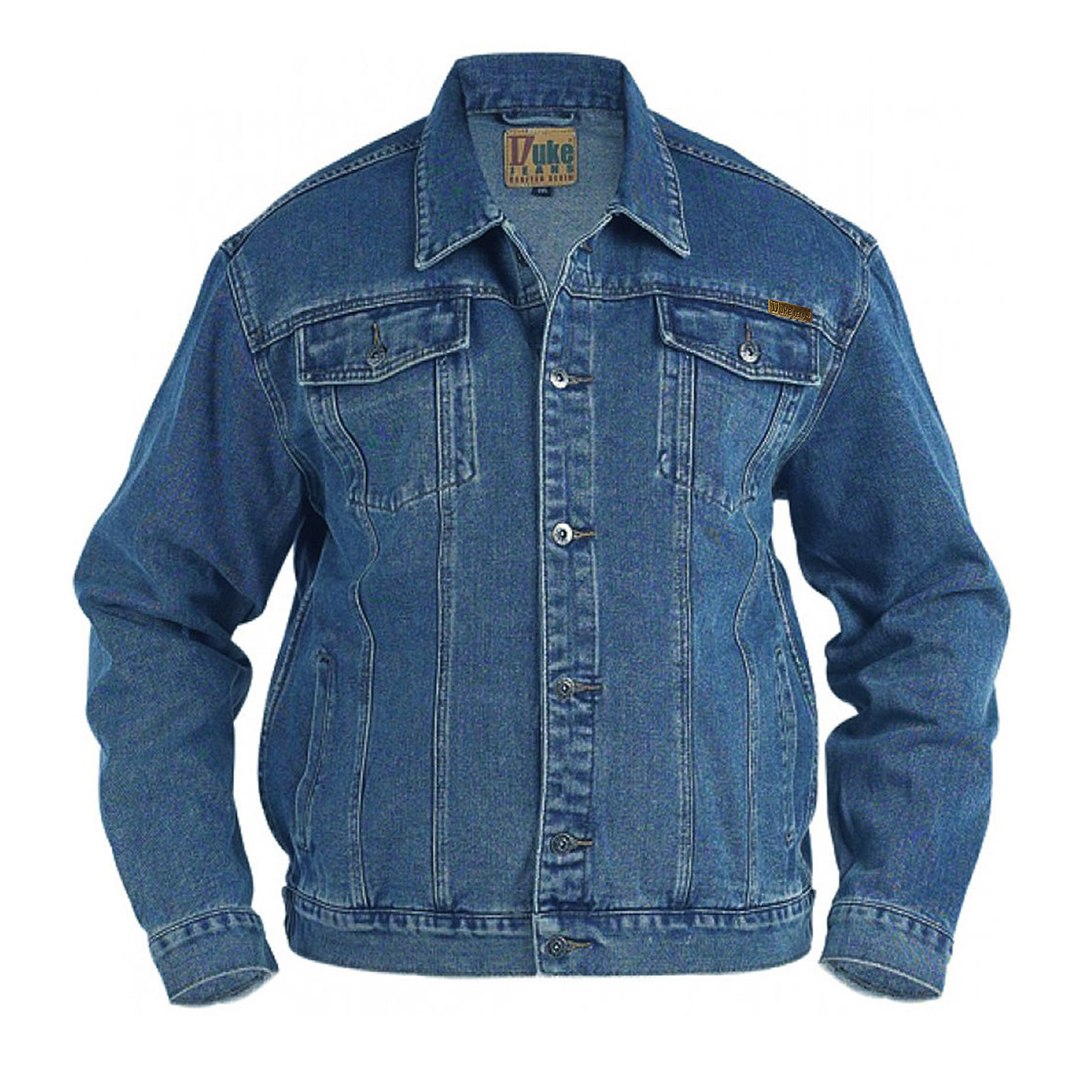Duke D555 Mens Trucker Designer Big Tall King Size Denim Jeans Stone Wash Jacket