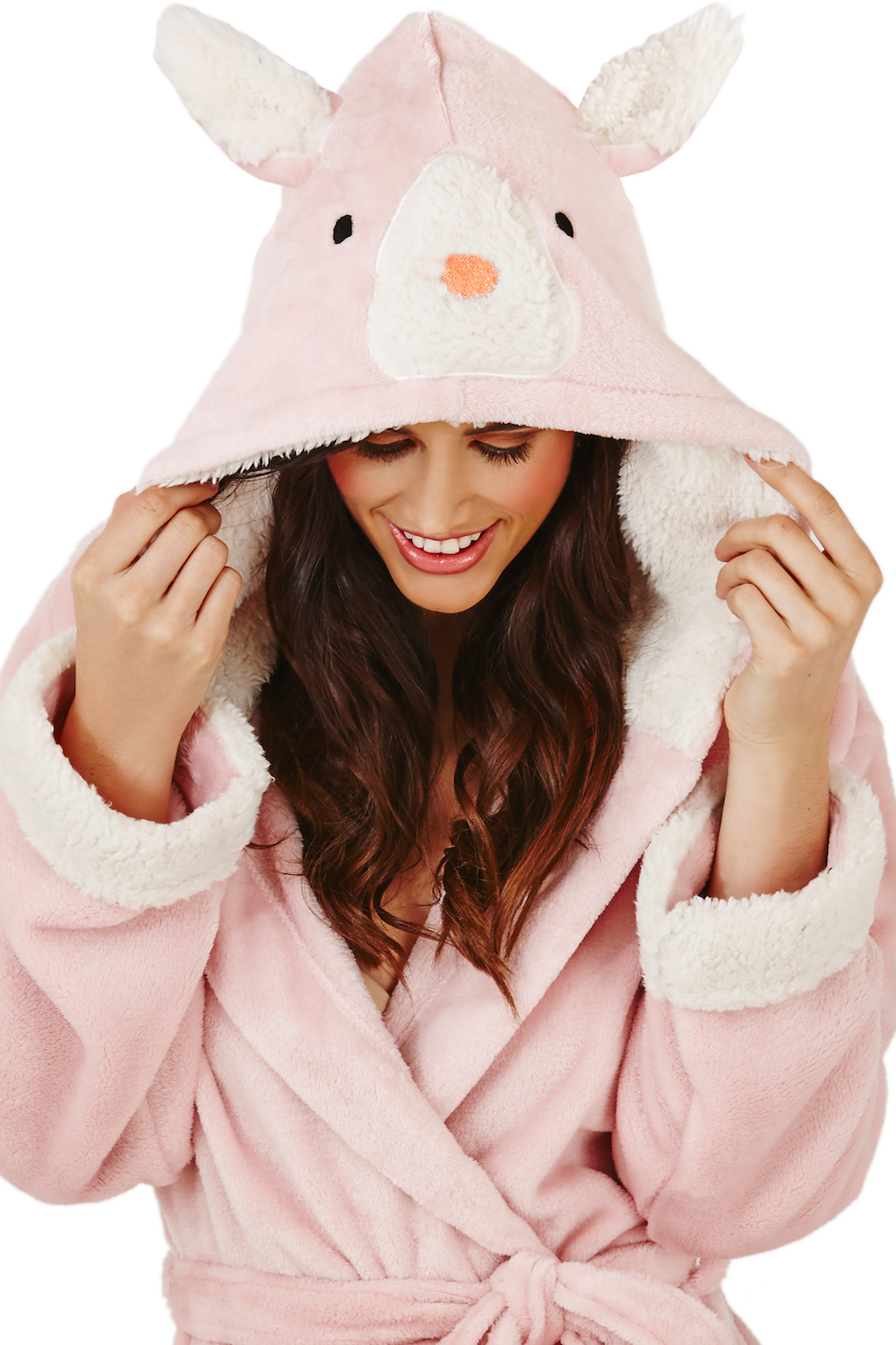 Loungeable Womens Luxury Hooded Robe Ladies 3D Novelty Fleece Dressing Gown