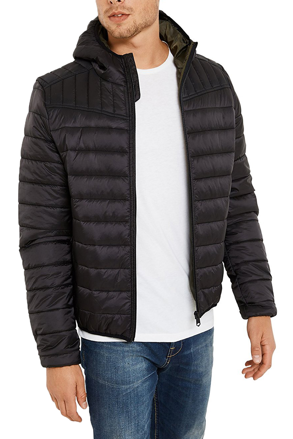 Threadbare mens terrier quilted coat padded hooded ma1 zip for Quilted jackets for men