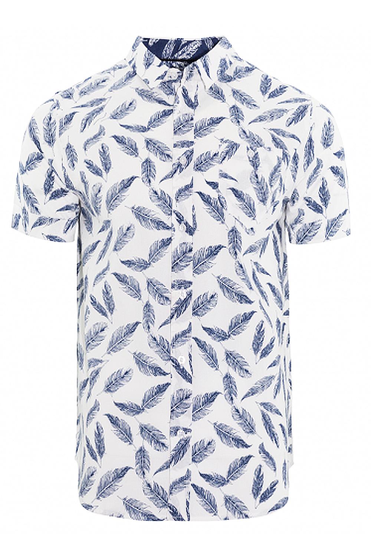 Alma valiente Hombre Camisa de impresión de plumas Antonio Algodón Manga Corta Nuevo Diseñador