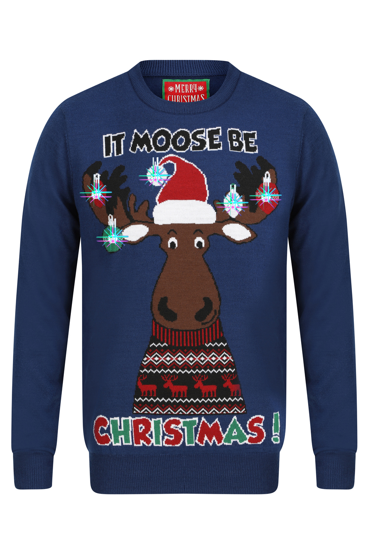 """Joyeux Noël Homme Festive /""""Moose être Noël/'s Light up à encolure ras-du-cou Noël Pull"""