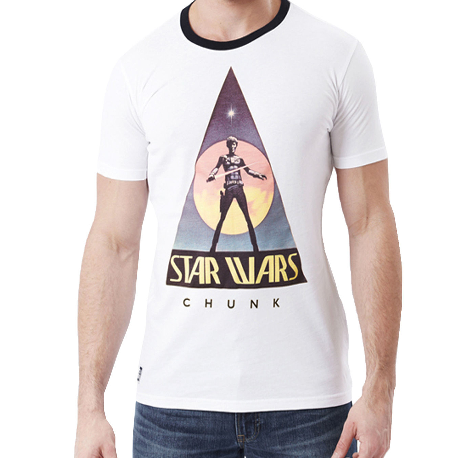 Mens t shirt chunk star wars original 75 logo retro for Vintage star wars t shirts men
