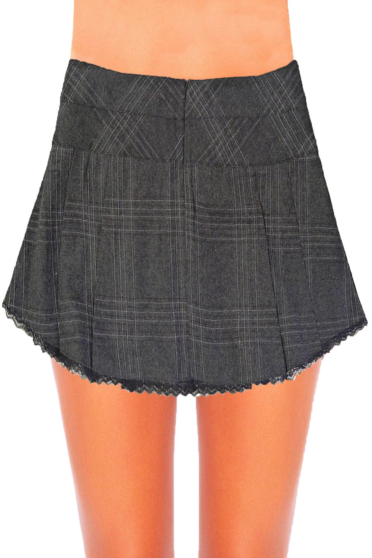 Womens New Stylish Tartan Pleated Mini Kilt Gothic Buckle Short Ladies Skirt