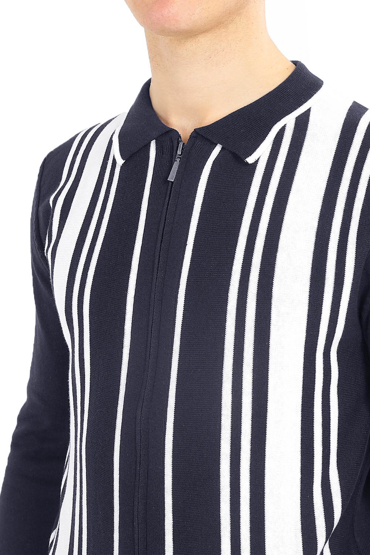 Brave Soul /'Mellor/' Full Zip Stripe Cardigan Jumper
