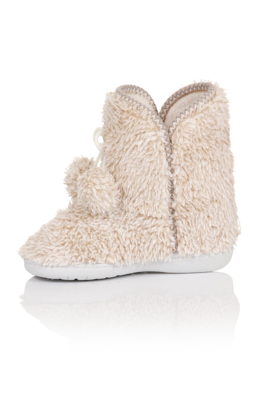 Womens Faux Fur Beige Ankle Slipper Boots Ladies Girls ...