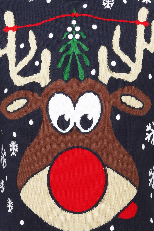 Christmas Mens Womens Reindeer Pucker Up Jumpers Soft Winter Pullovers Tops