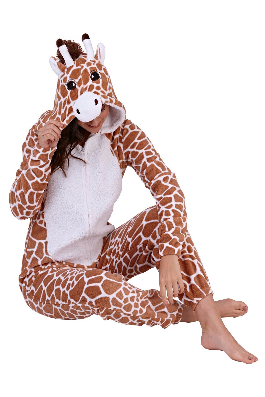 Loungeable Womens 3D Giraffe Print All In One Super Soft Fleece Novelty Jumpsuit