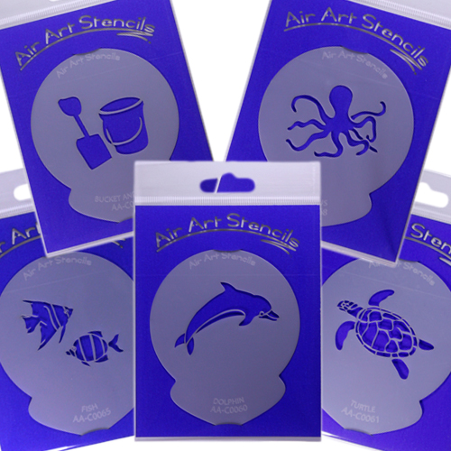 Cake Art Food Grade Casting Gel Uk : Cake Stencils SEASIDE THEME - Air Brushing Art & Craft ...