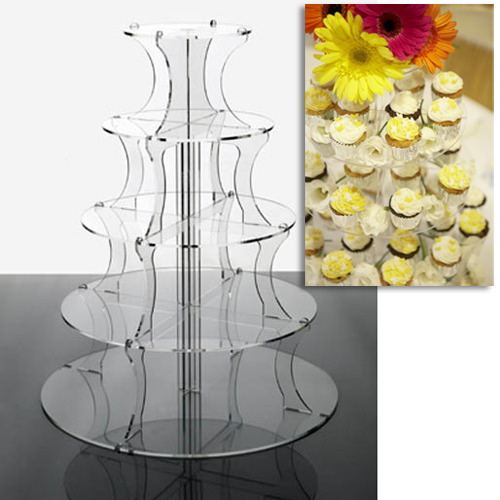 Round 5 Tier Clear Acrylic Cup Cake Stand