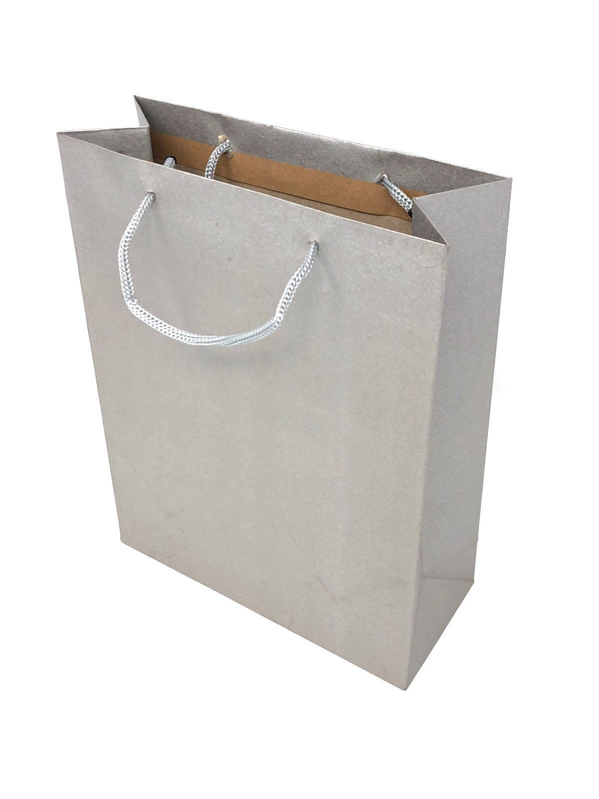 Details About 12 Pack Gift Bags Corded Handles Black Silver Whole Kraft Paper Gifts Bulk