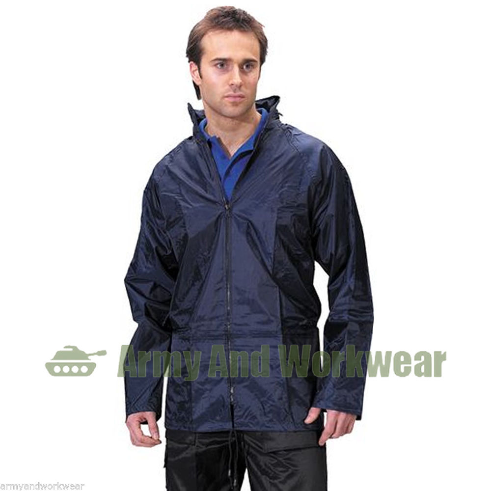 Adults waterproof rain jacket work coat kagoul hooded mens for Fish onesie for adults