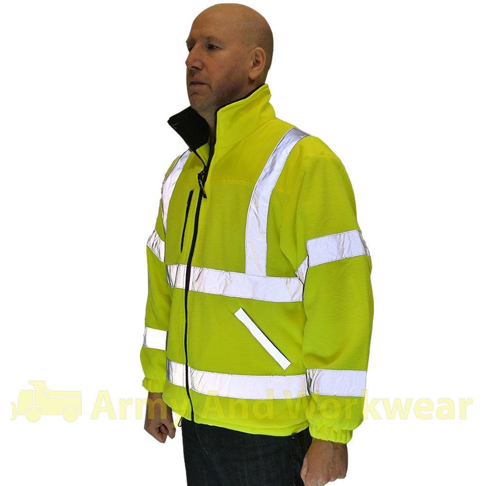 exceptional hi viz fleece super jacket safety workwear coat fully fined class 3 ebay. Black Bedroom Furniture Sets. Home Design Ideas