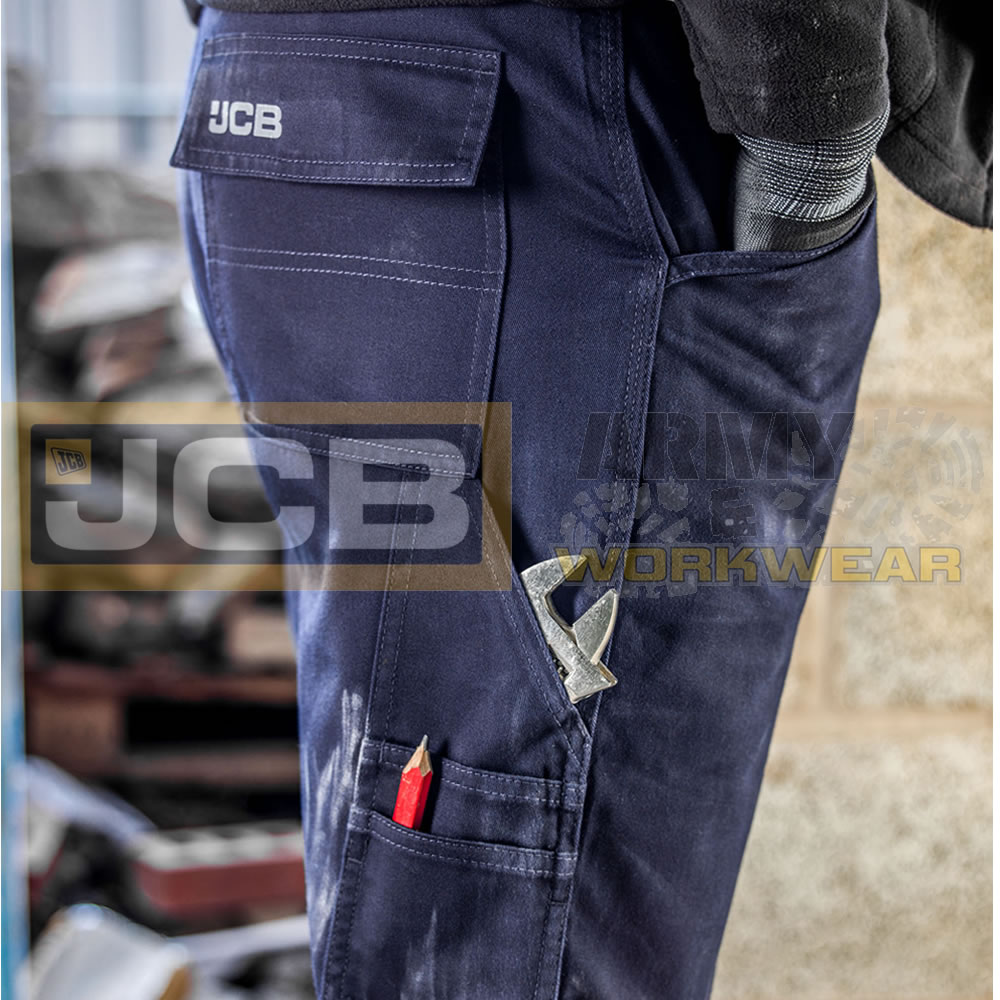 JCB Essential Mens Cargo Combat Multi Pocket Knee Pad Heavy Duty Trousers Pants