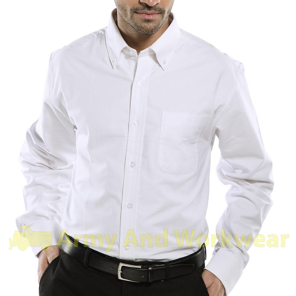 Mens Cotton Oxford Work Shirt Smart On Down