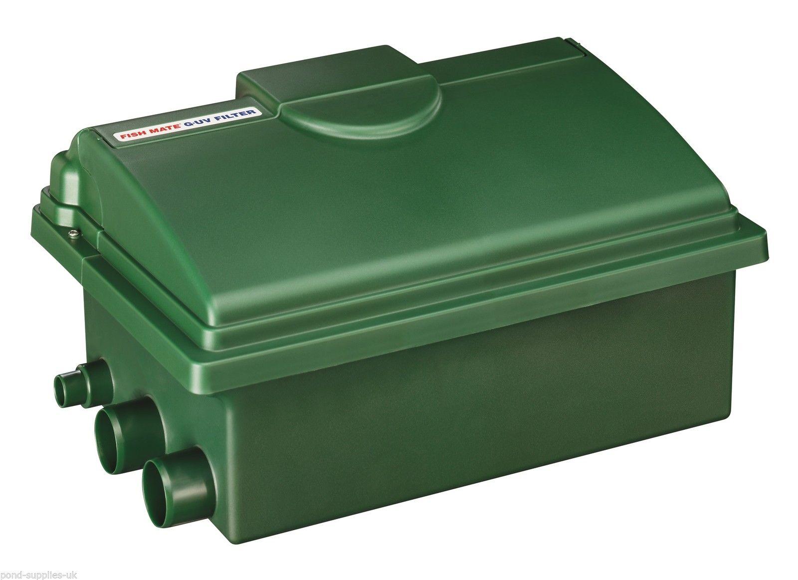 Fish mate 4000 guv 8w uv bio media gravity filter box fish for Koi pond pool filter