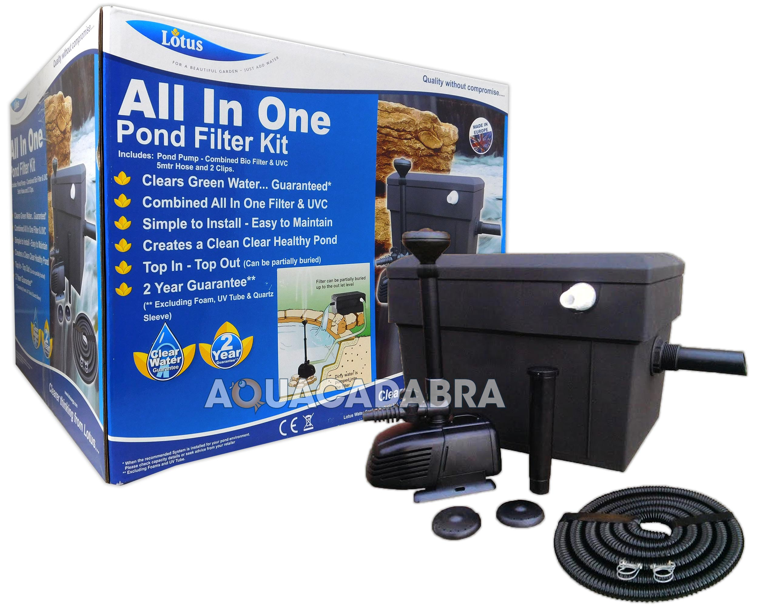 Lotus all in one pond filter kit otter 4500 litre pump bio for Best all in one pond pump and filter