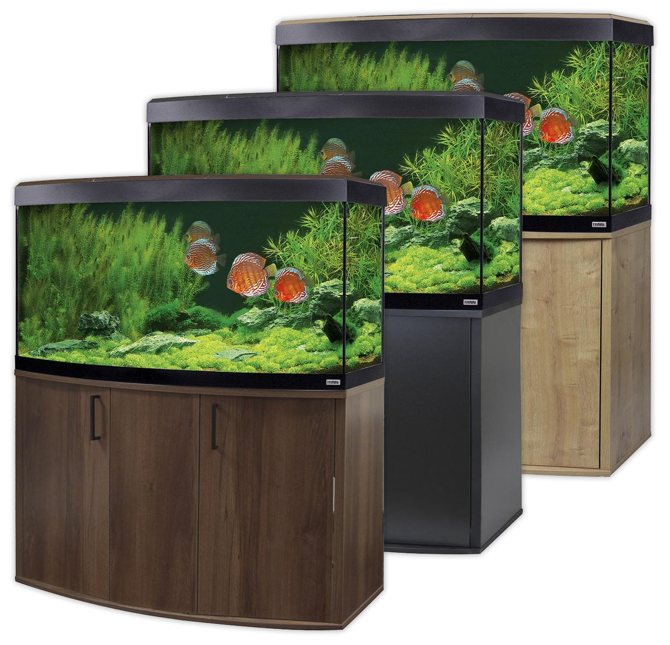 fluval vicenza 260 led aquarium cabinet set bowfront oak walnut black tank ebay. Black Bedroom Furniture Sets. Home Design Ideas