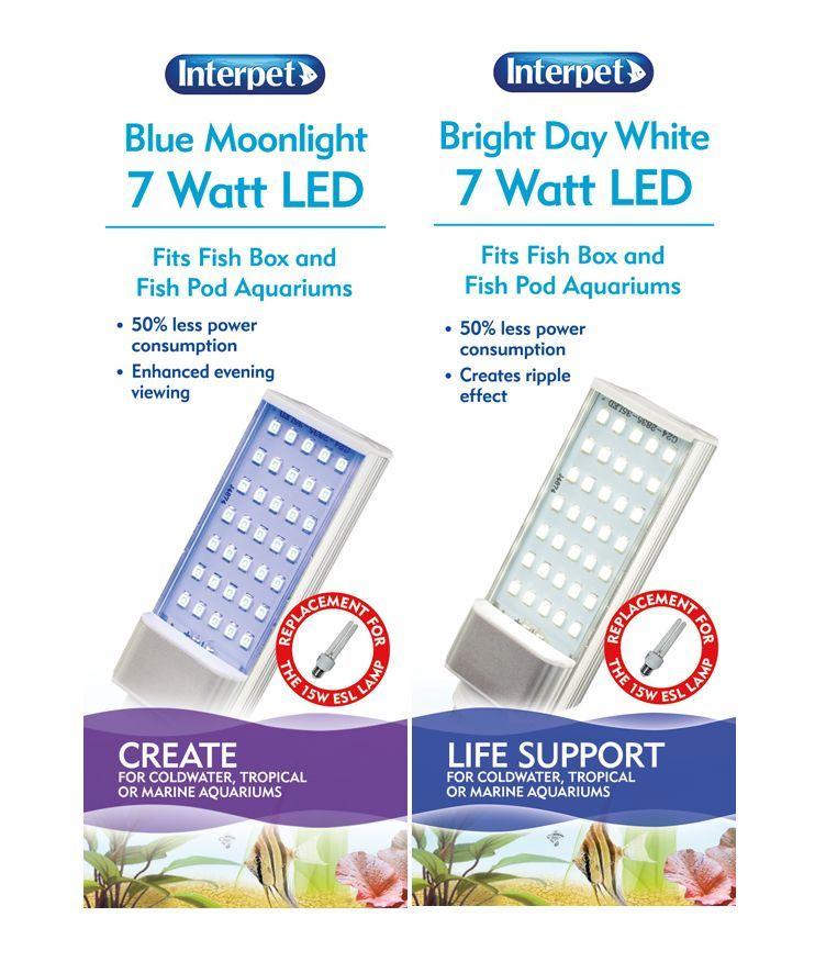 Interpet Blue Moon Moonlight T5 T8 Fish Tank Light: INTERPET POD MOON BOX TANK SPARE LED BULB LAMP LIGHT TUBE
