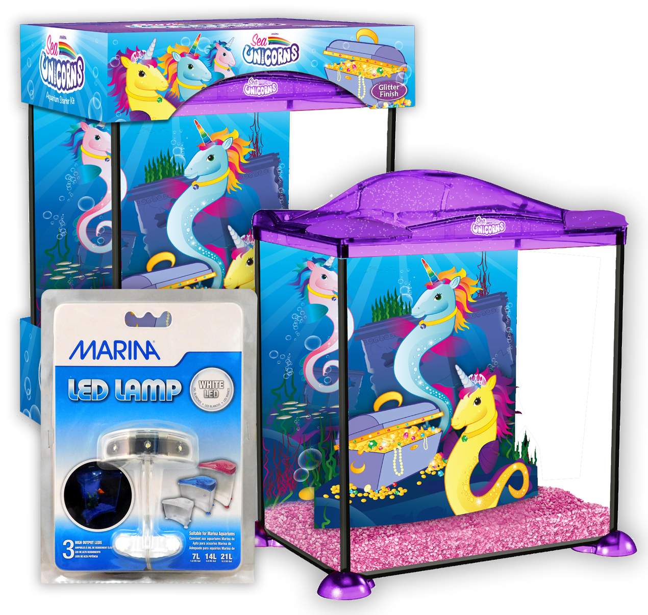 Marina Sea Unicorns Aquarium 17l Starter Kids Fish Tank