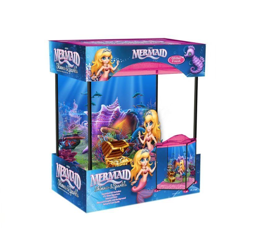 Marina mermaid girls kids child aquarium glass fish tank for Mermaid fish tank