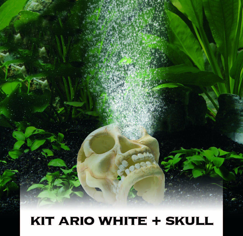 Hydor Ario Skull White Deco Aeration Bubble Maker LED Light