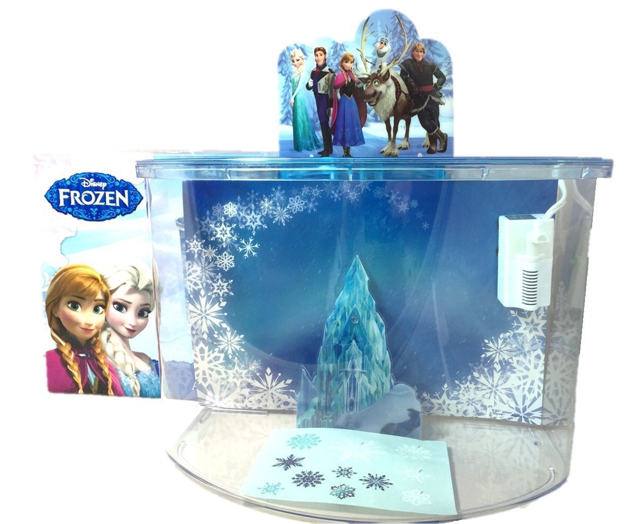 Disney frozen elsa anna olaf castle ornament penn plax for Childrens fish tank