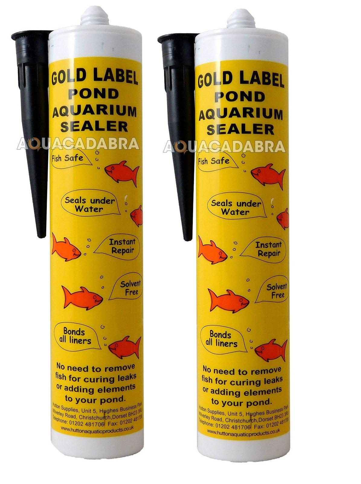 Gold Label 2x Black Underwater 290ml Leak Repair Garden Fish Pond Liner Sealant