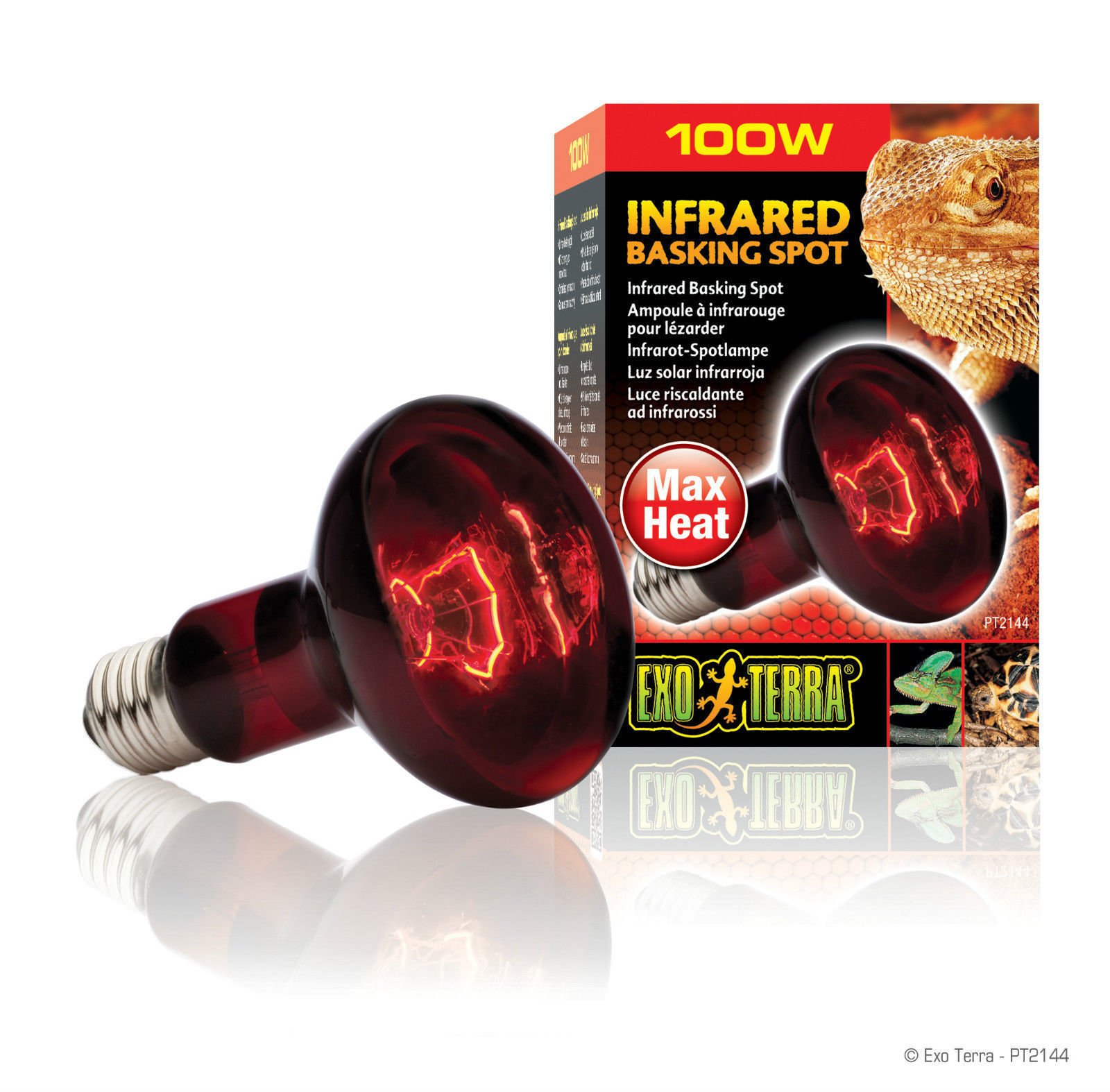 Exo Terra Infrared Basking Spot Lamp Max Heat Reptile Red