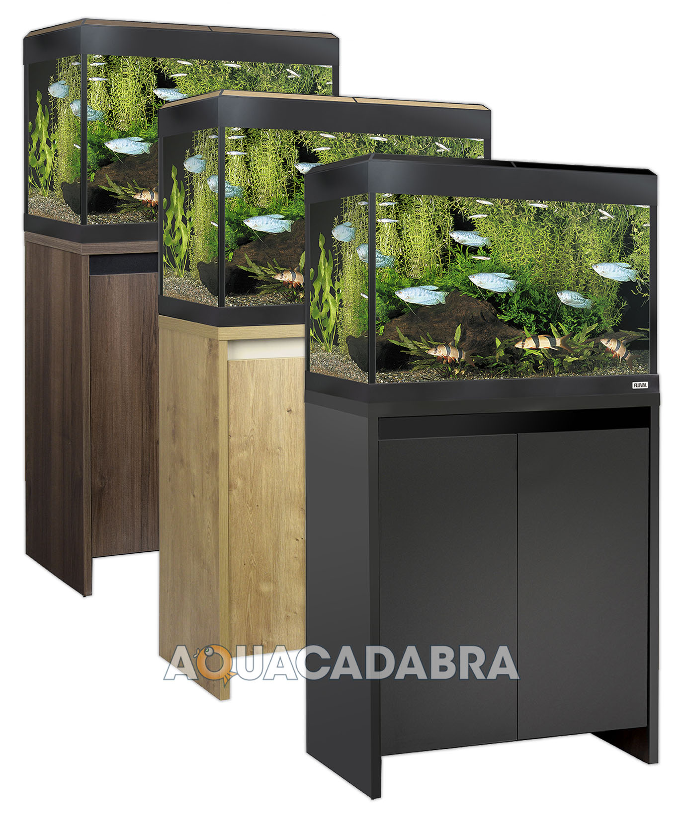 Fluval roma led aquariums 90 125 200 240l oak walnut black for Muebles elegantes