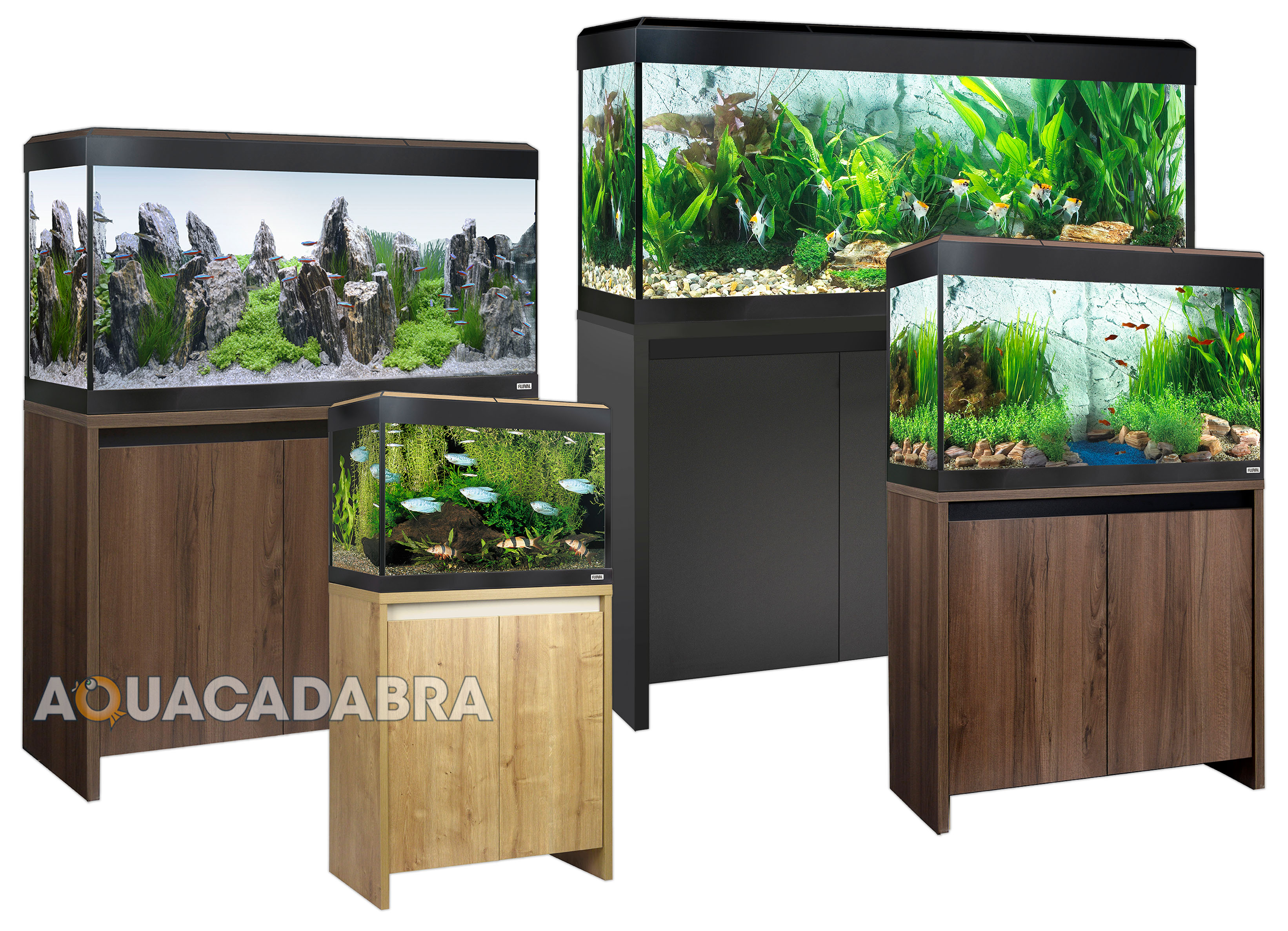 Fluval roma led aquariums 90 125 200 240l oak walnut black for 20 gallon fish tank size