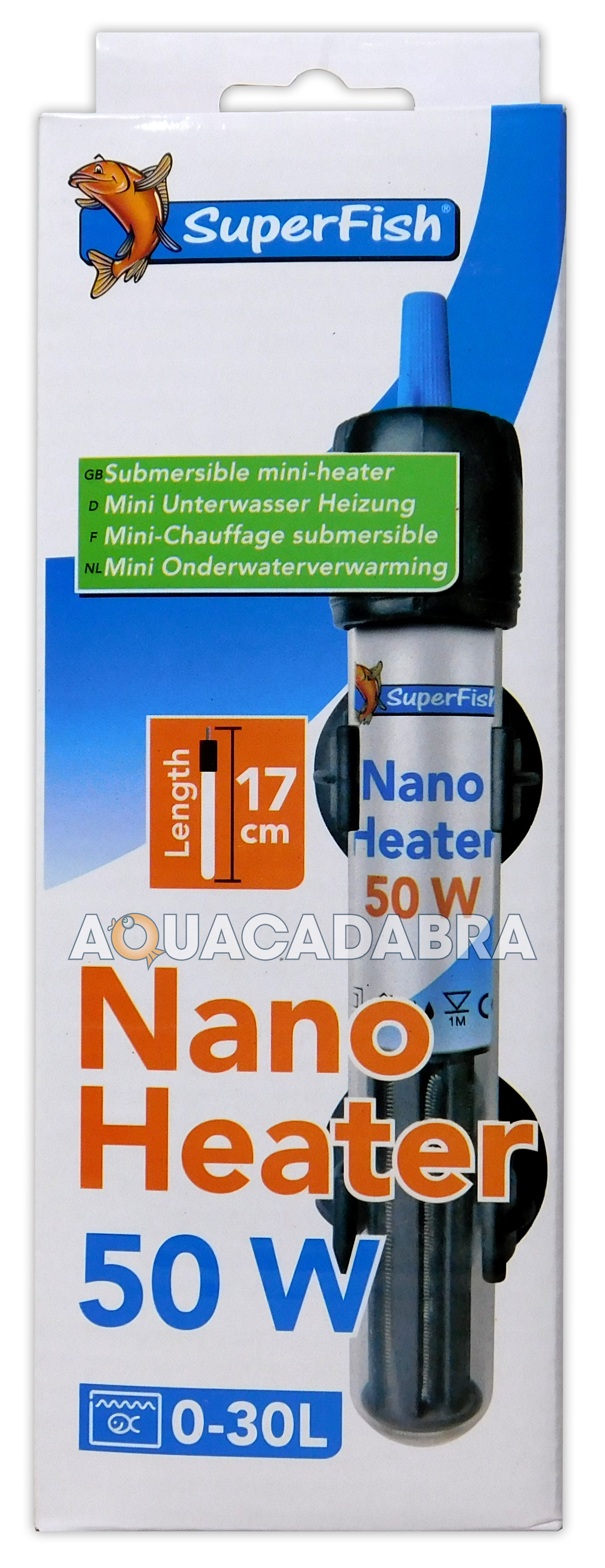SUPERFISH NANO MINI HEATER 50W 17cm SUBMERSIBLE THERMOSTAT FISH TANK