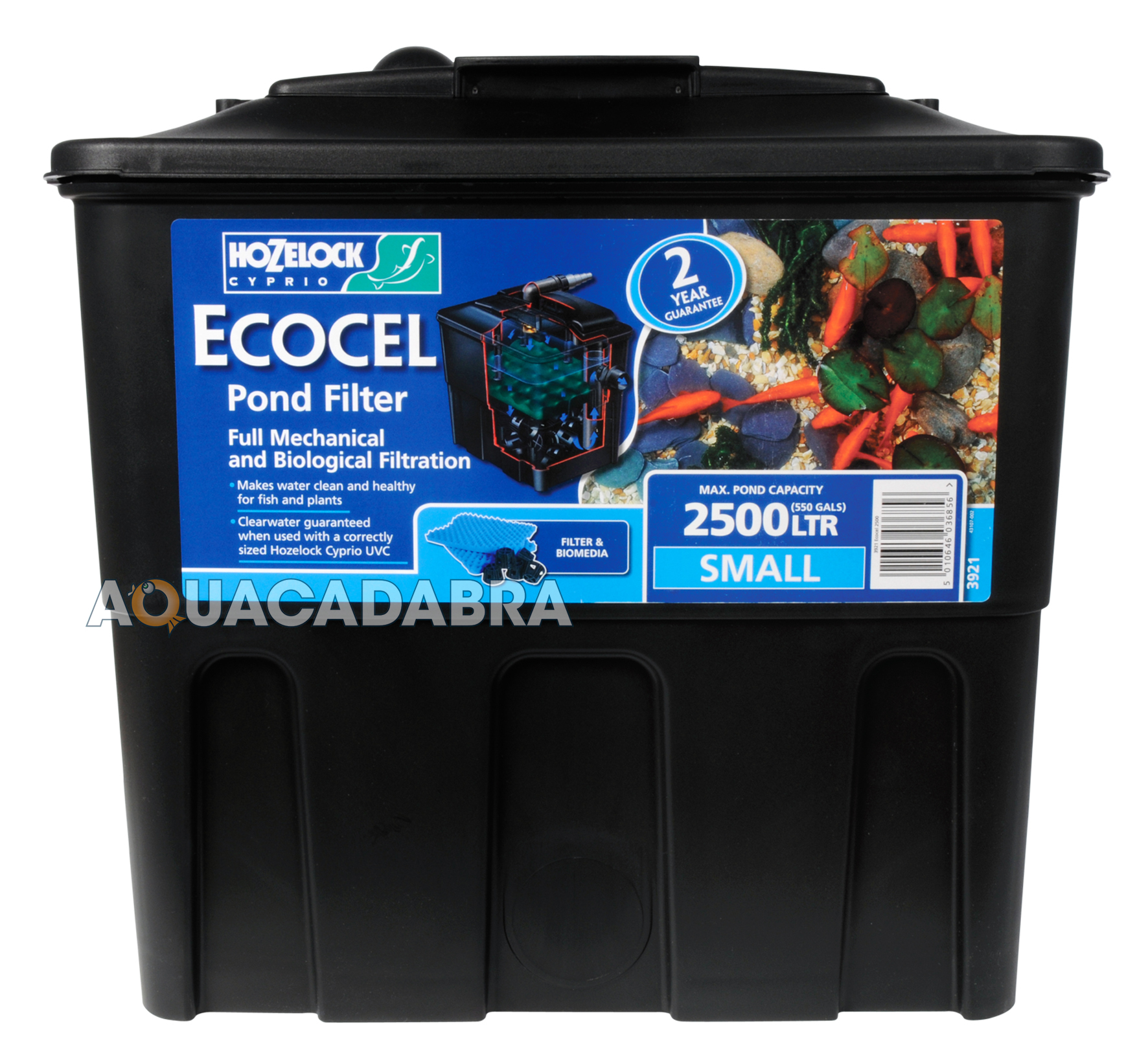 Hozelock ecocel pond filter fish gravity media box system for Filtre poisson rouge