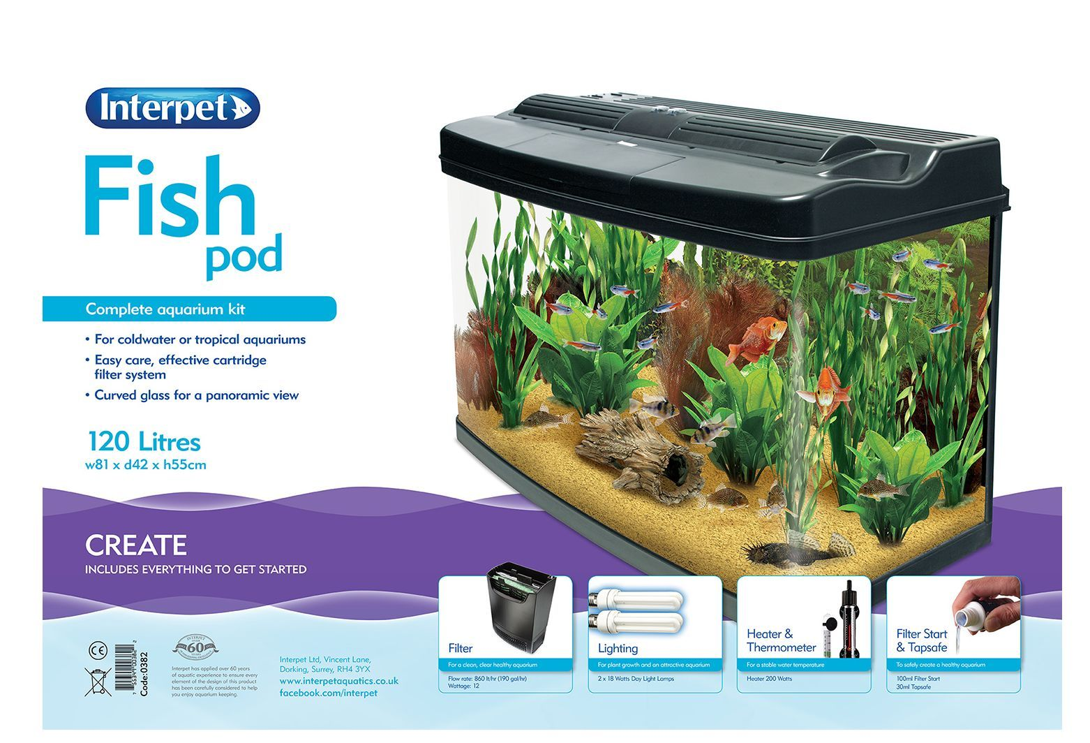interpet fish pod 120 litre aquarium tank complete set up coldwater tropical ebay. Black Bedroom Furniture Sets. Home Design Ideas