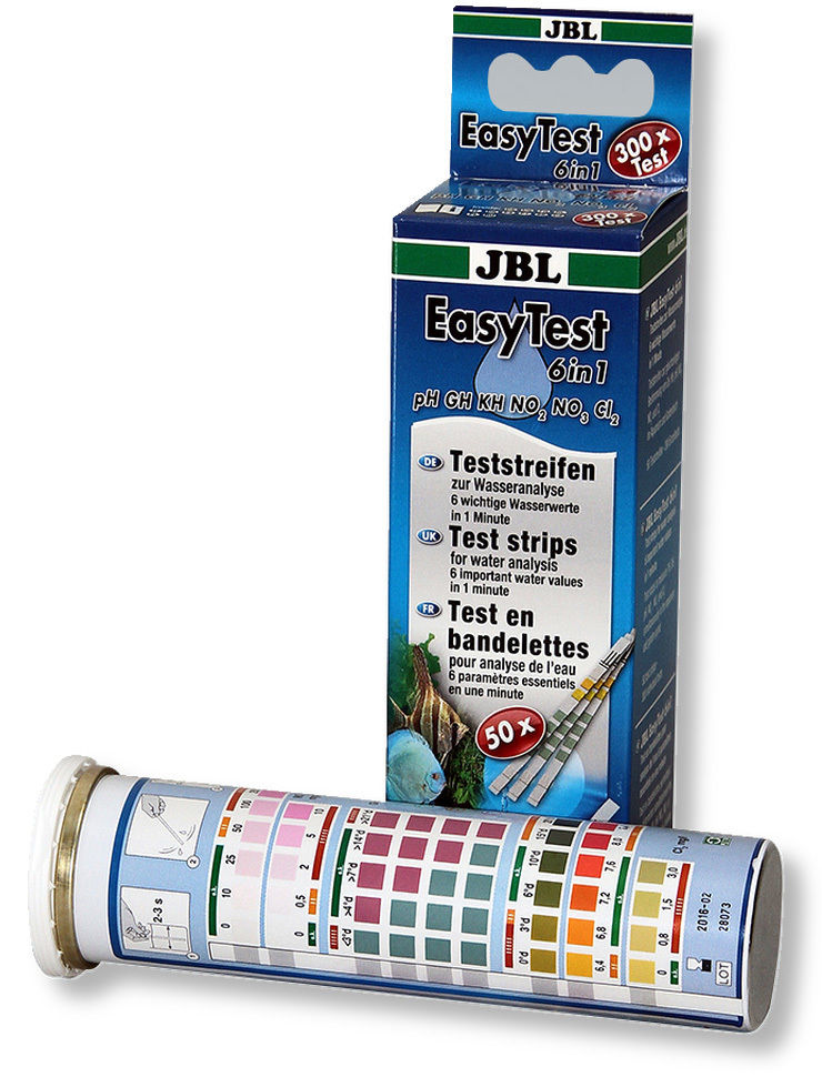 Jbl easytest 6 in 1 test strips kit ph kh gh nitrate for Nitrite in fish tank