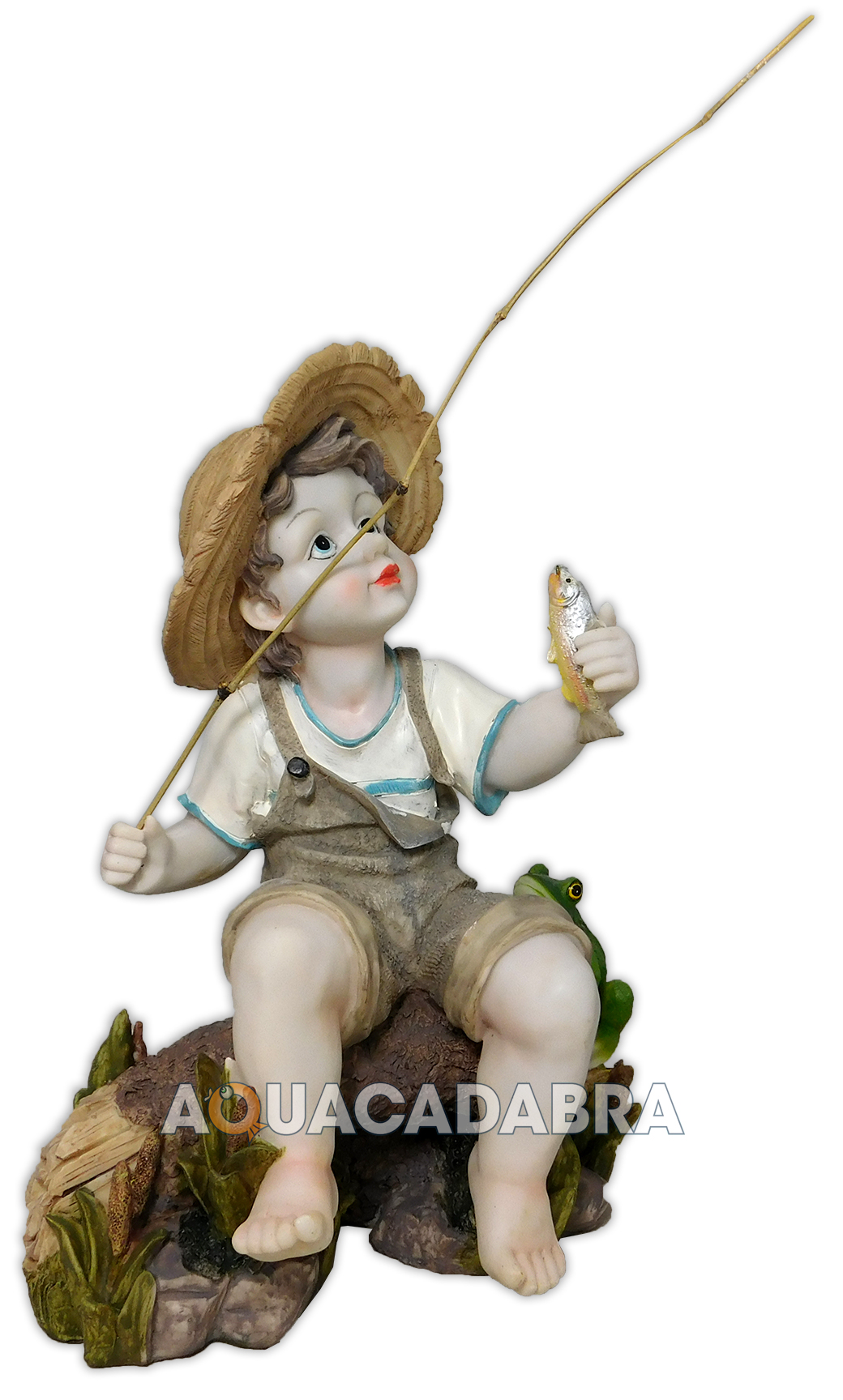 Toscano fishing boy with frog statue garden pond ornament for Garden pond ornaments uk