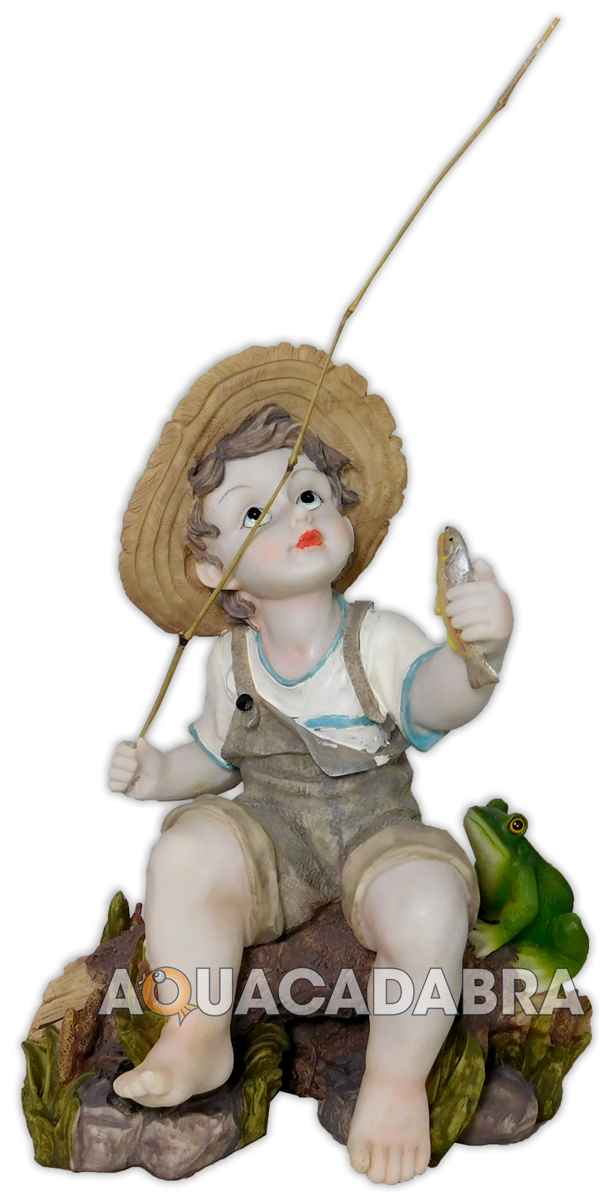Toscano fishing boy with frog statue garden pond ornament for Fish pond ornaments