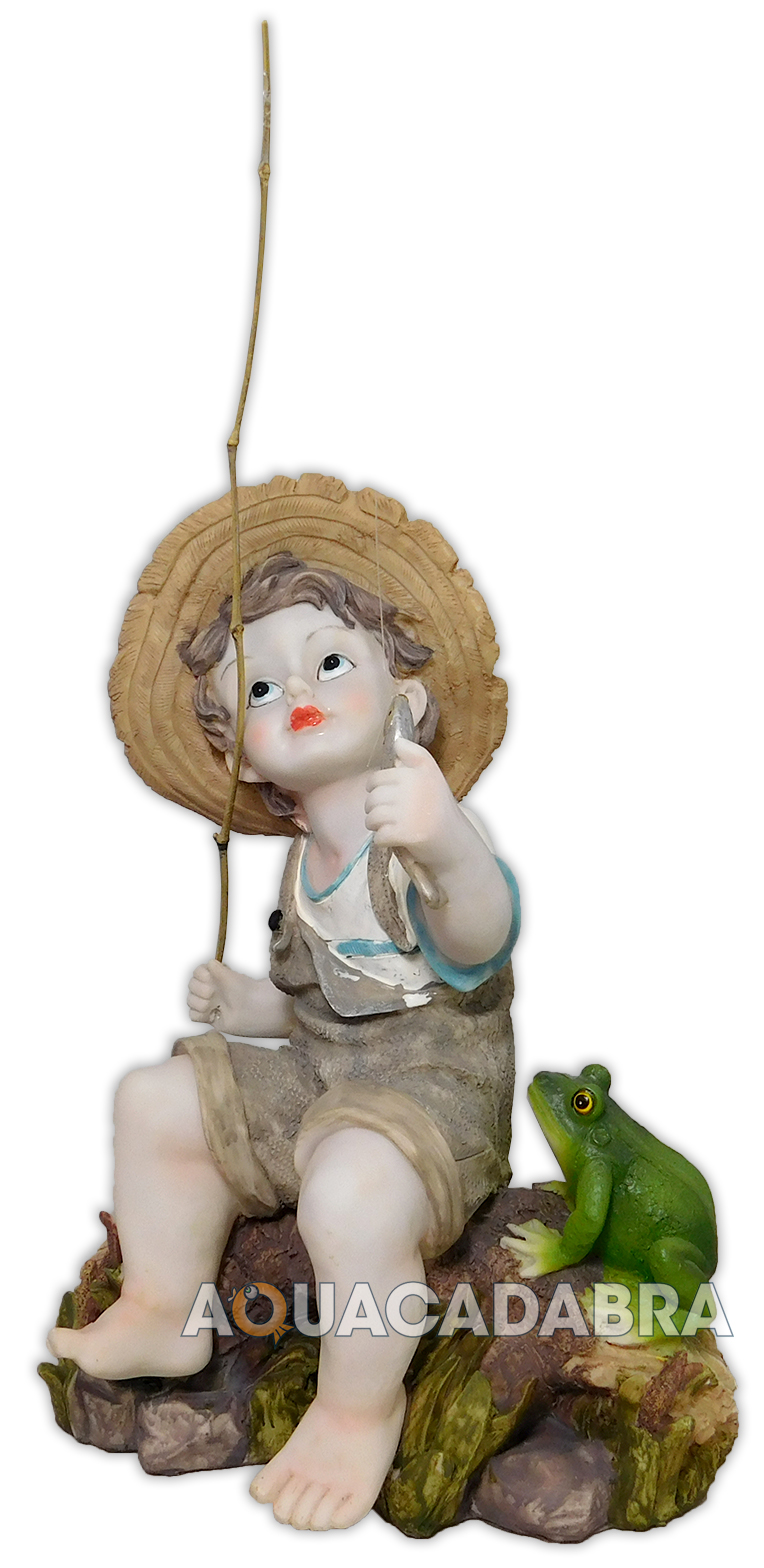 Toscano fishing boy with frog statue garden pond ornament for Garden pool ornaments