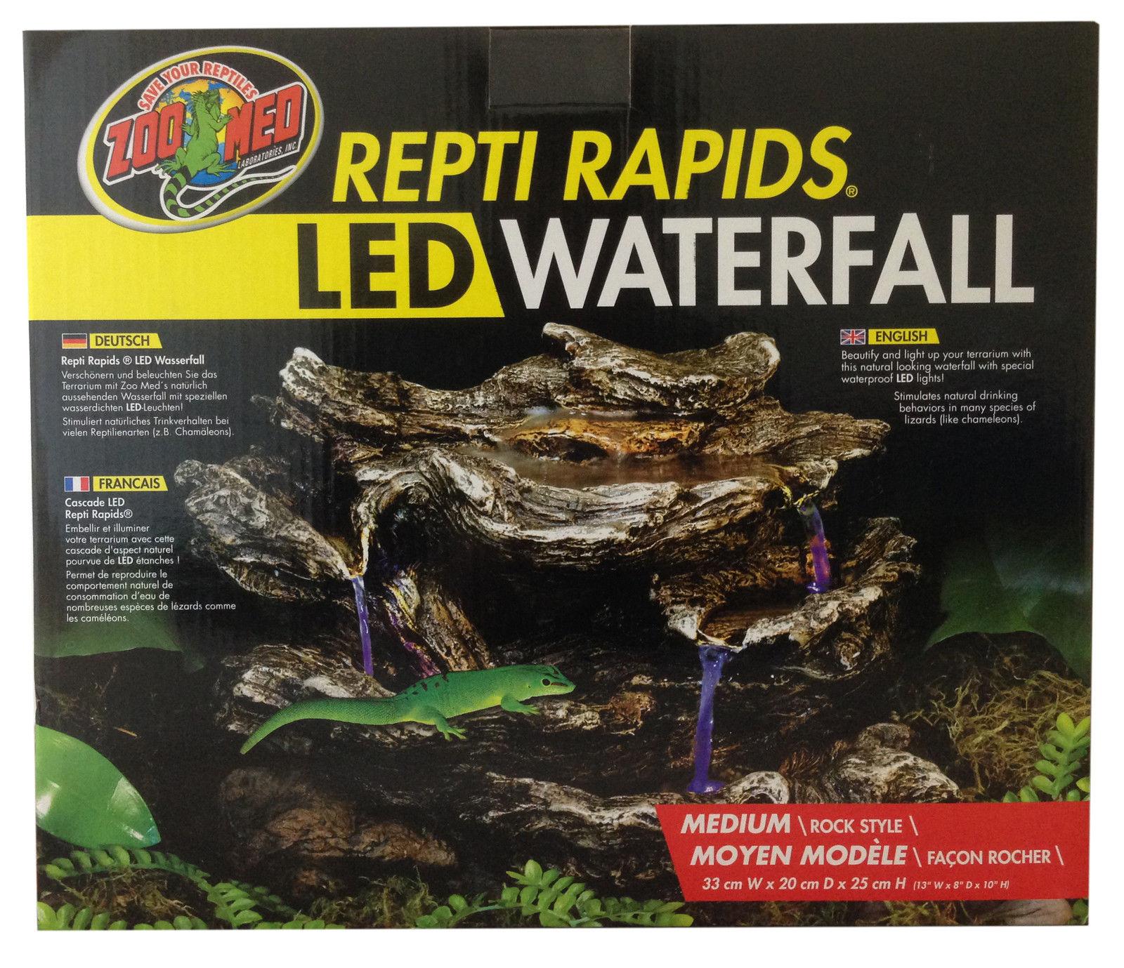 Zoo Med Repti Rapids Led Light Rock Amp Wood Style Waterfall Reptile Terrarium Viv Ebay