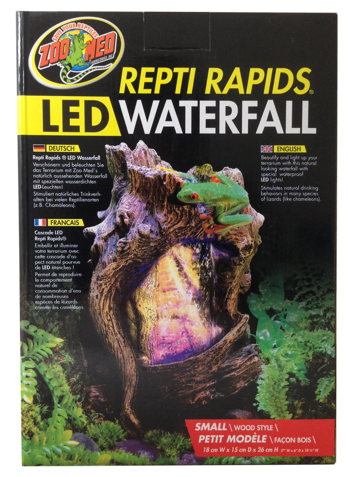 Zoo Med Repti Rapids Led Light Rock Amp Wood Style Waterfall