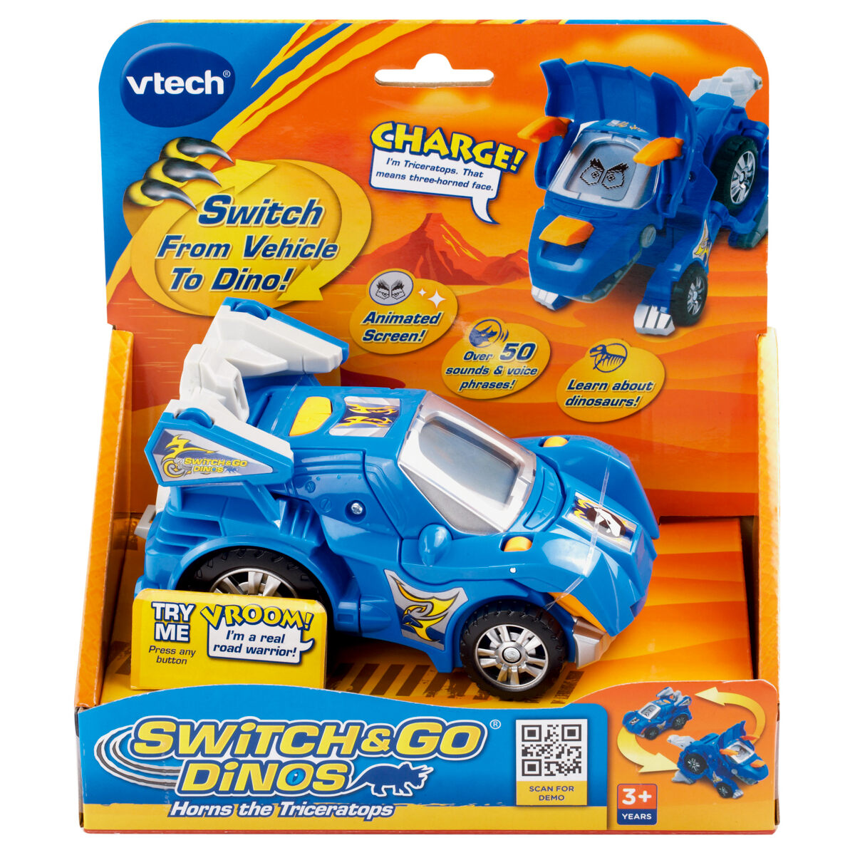 HORNS THE TRICERATOPS 2012 Switch and Go Dinos Vtech Toy