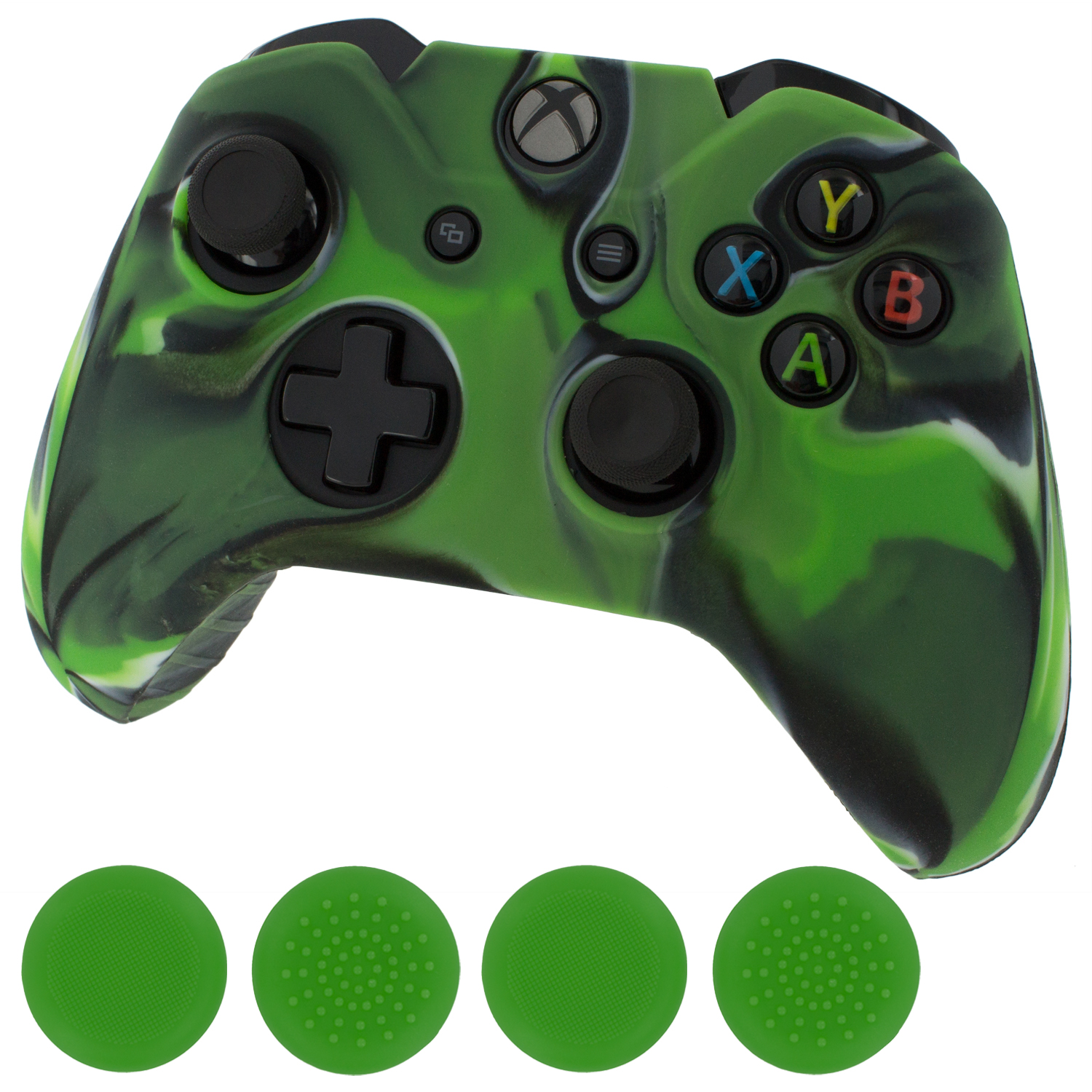 Details about ZedLabz camo silicone cover skin & green thumb grip cap for  Xbox One controller