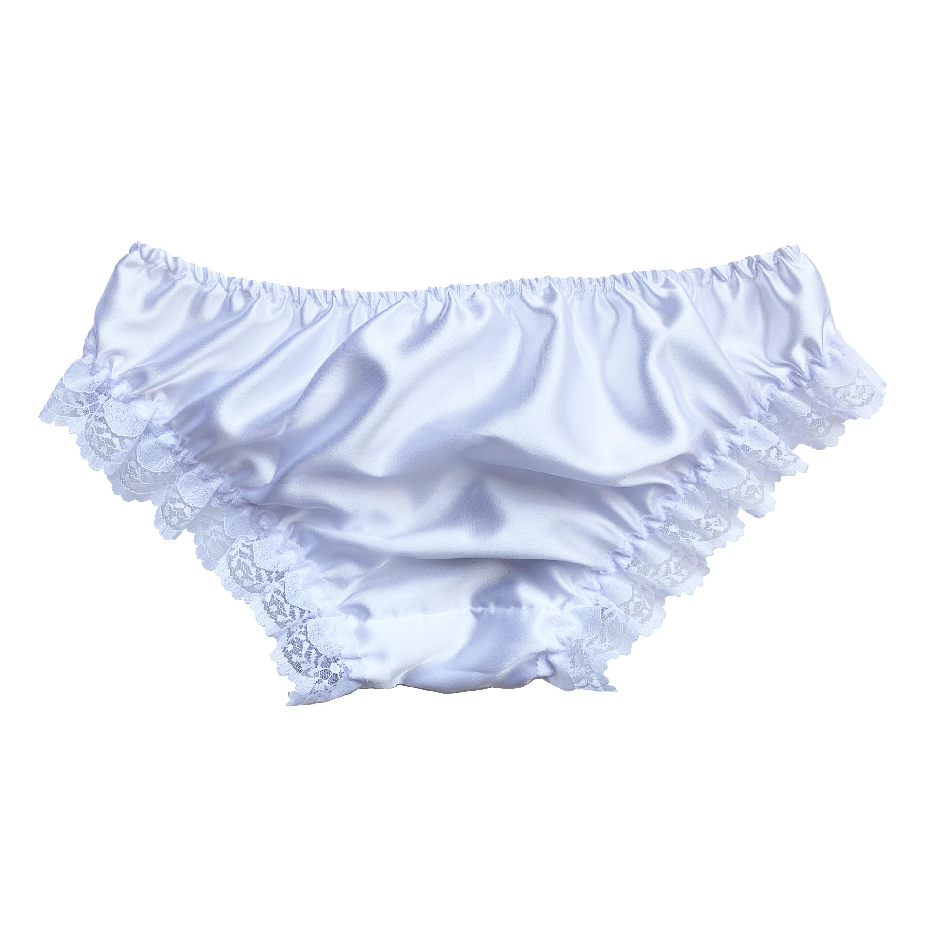 Details about  /New Satin Lace Sissy Frilly Full Panties Bikini Knicker Underwear Size 10-20