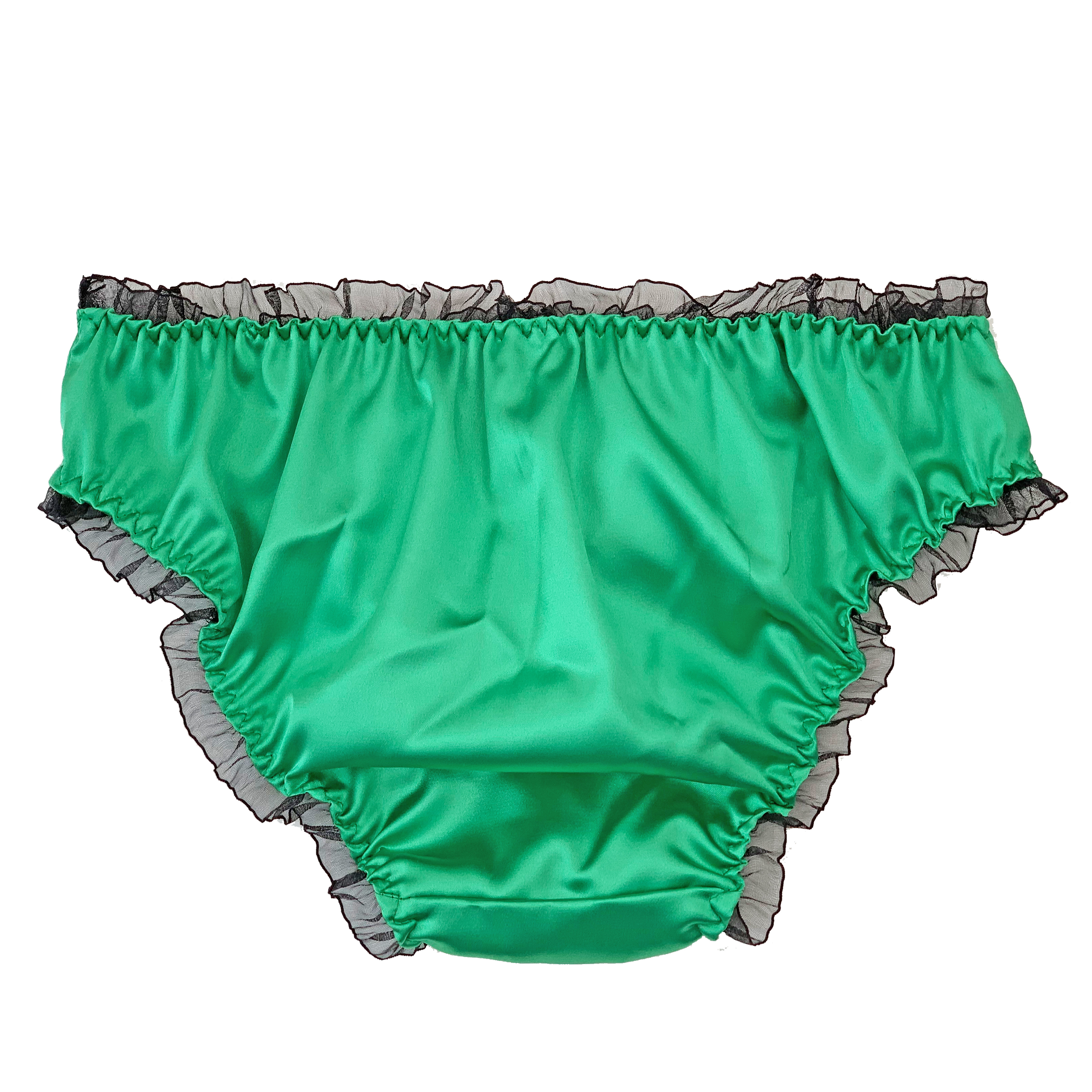 Teal Green Satin Frilly Sissy Panties Bikini Knicker Underwear Briefs Size 6-20