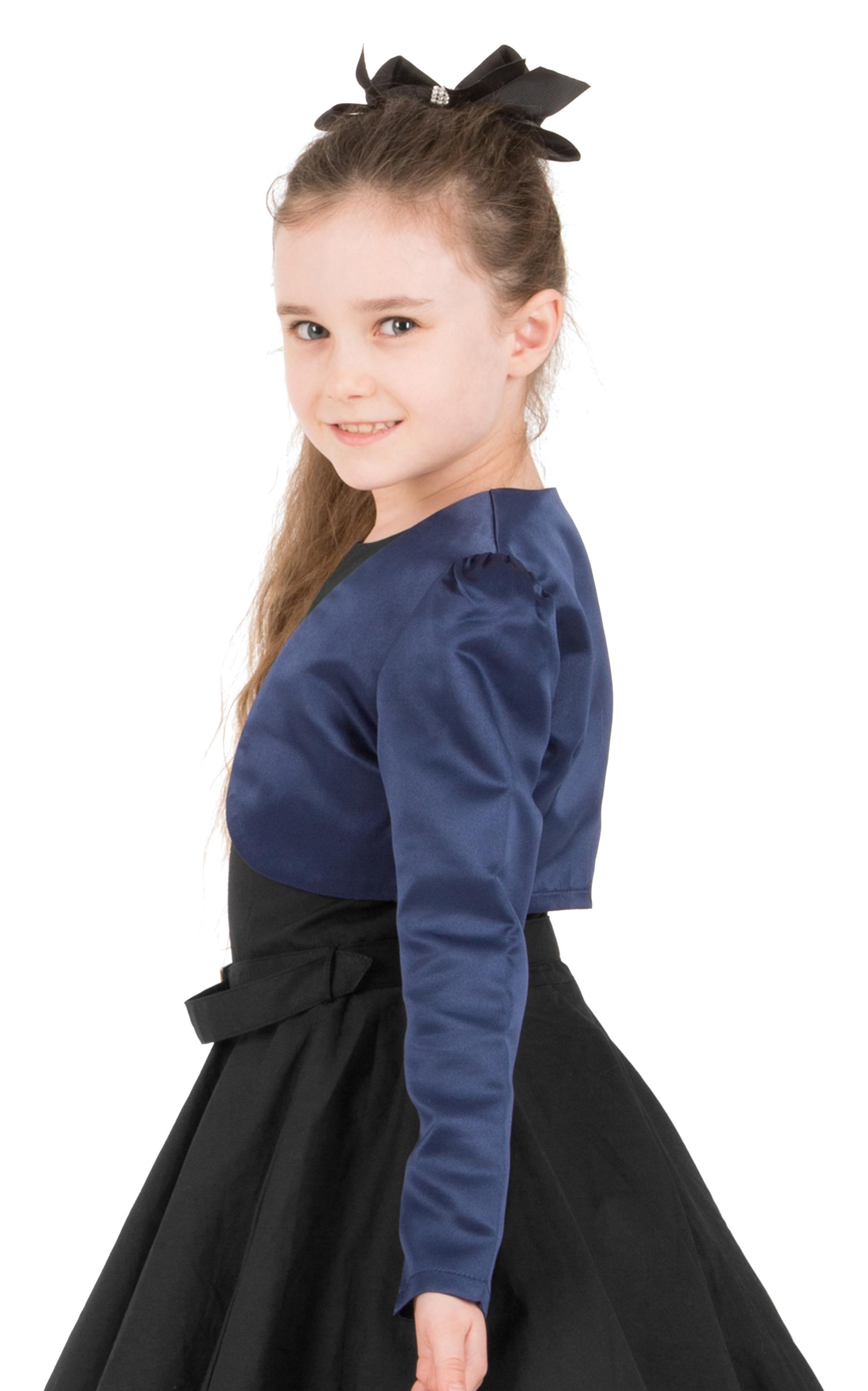 Girls-Long-Sleeve-Party-Bridesmaid-Prom-Bolero-Shrug miniatuur 38