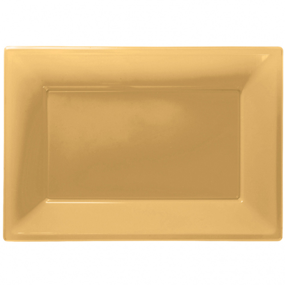 ... Picture 2 of 2  sc 1 st  eBay & 3 Gold Plastic Serving Platters Tray 33cm X 23cm Buffet Party ...
