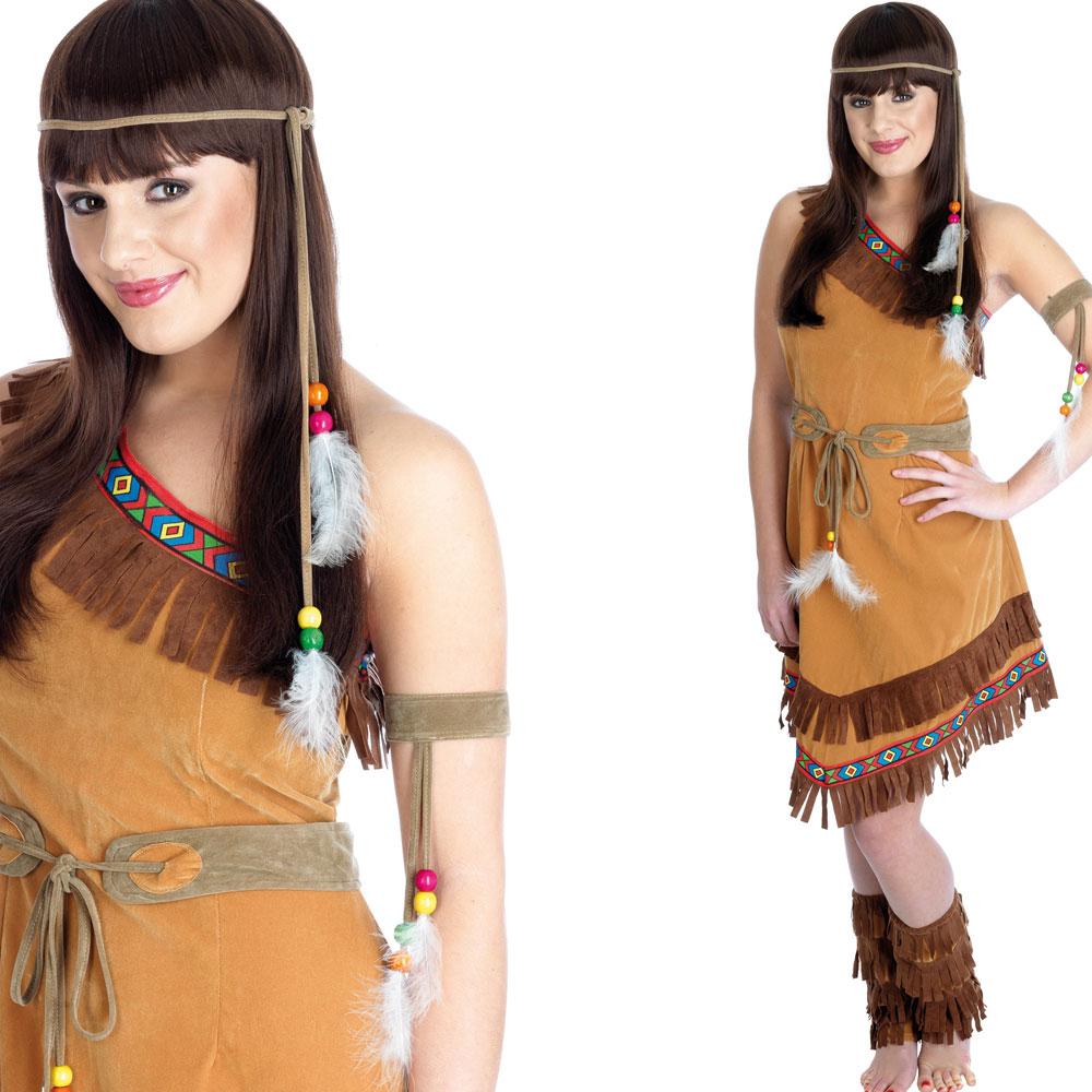 indianer pocahontas kost m damen kleid braun perlen verkleidung s m xl ebay. Black Bedroom Furniture Sets. Home Design Ideas