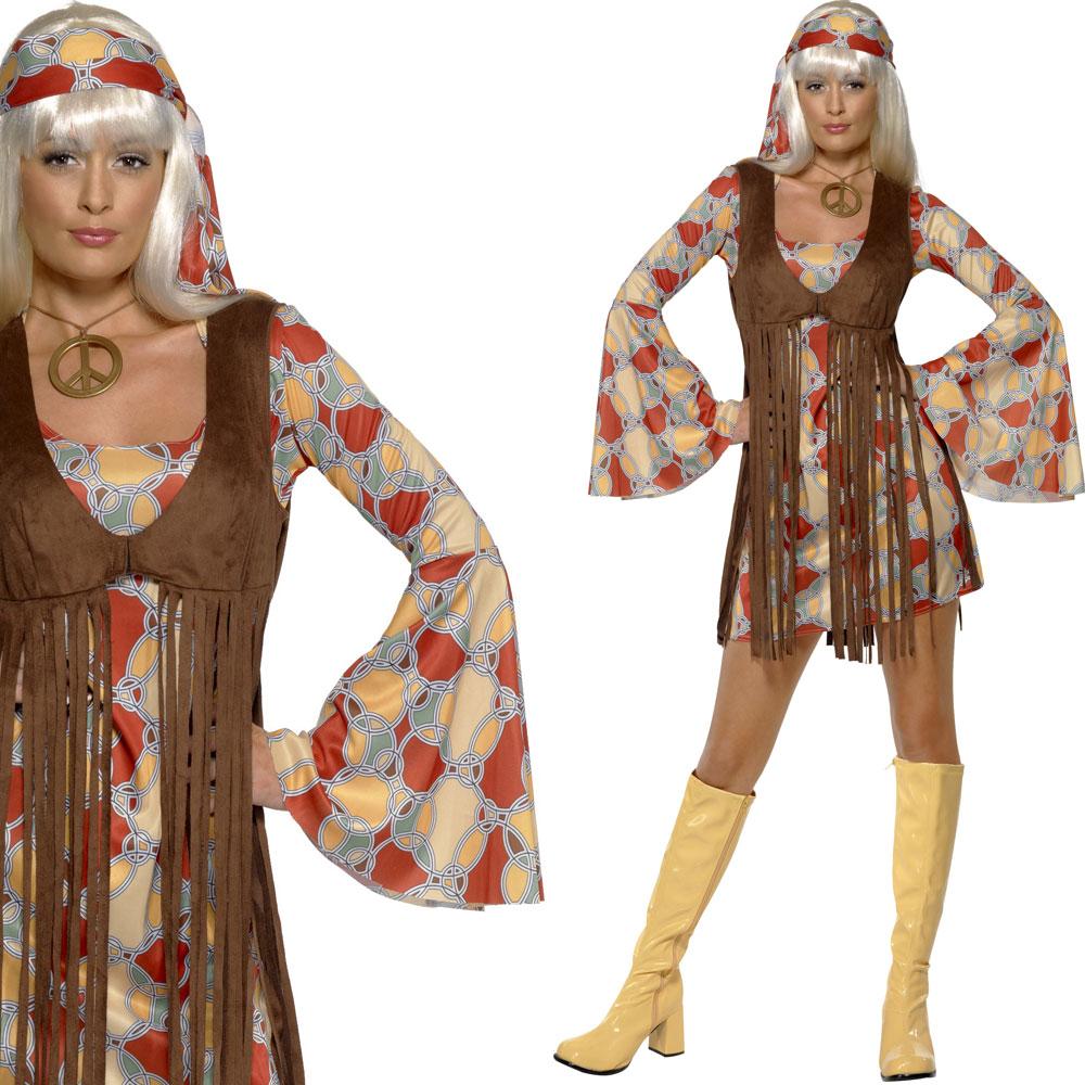 kost m damen hippie 1960er 60er jahre outfit kleid fasching party ebay. Black Bedroom Furniture Sets. Home Design Ideas
