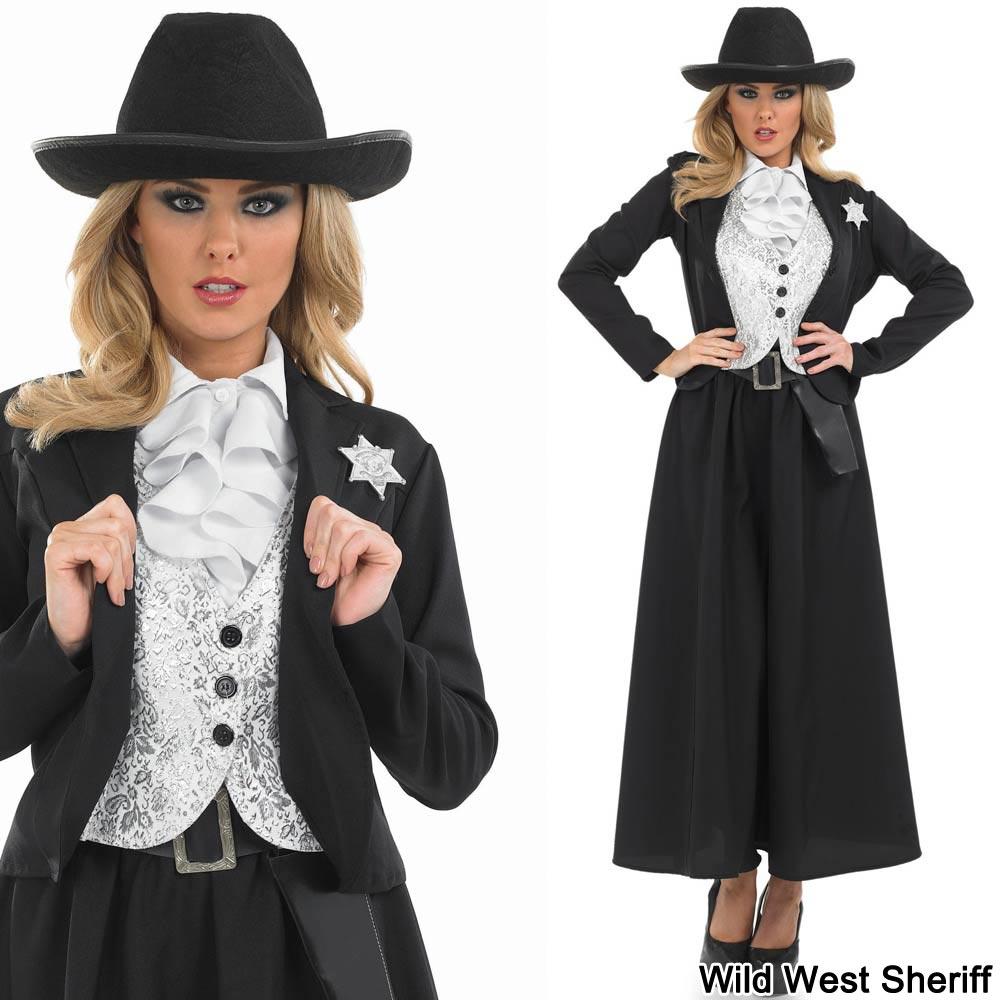 Senoras-Sheriff-Vaquera-Fancy-Dress-Costume-mas-Sombrero-  sc 1 st  eBay & Ladies Sheriff / Cowgirl Fancy Dress Costume PLUS Hat - Womens Wild ...