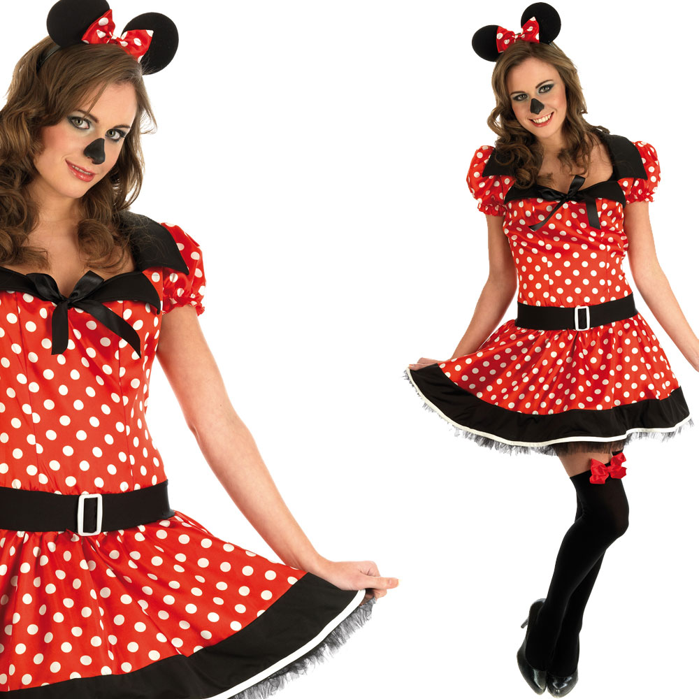 damen minnie mouse sexy kost m ohren gr en xs s m l ebay. Black Bedroom Furniture Sets. Home Design Ideas