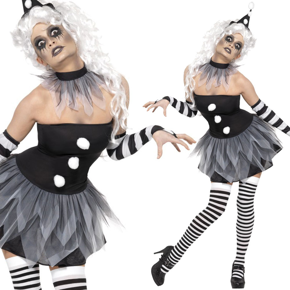 Scary-Clown-Costume-Halloween-Circus-Horror-Fancy-Dress-  sc 1 st  eBay & Scary Clown Costume - Halloween Circus Horror Fancy Dress - Bo Bo ...